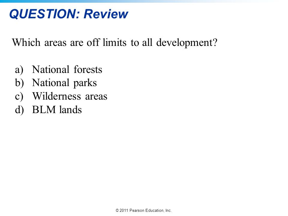 QUESTION: Review Which areas are off limits to all development