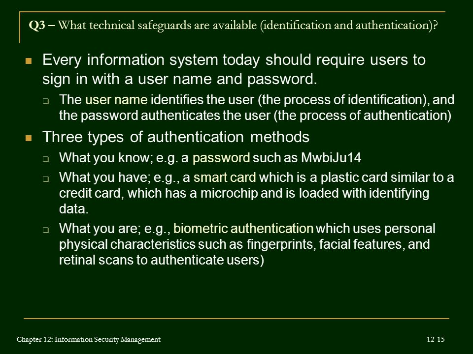 Three types of authentication methods