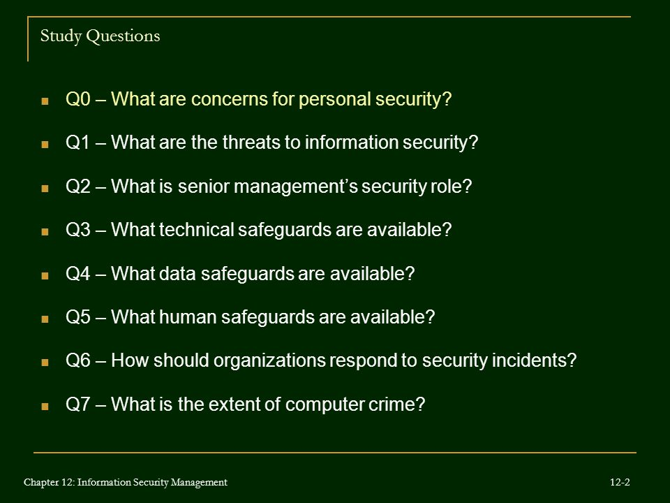 Q0 – What are concerns for personal security