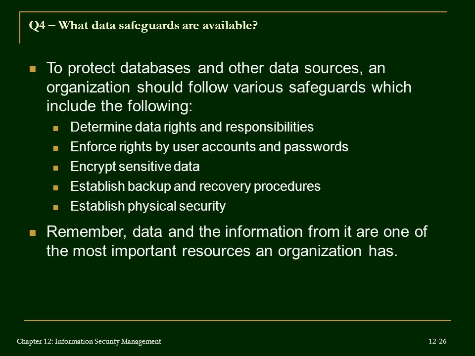 Q4 – What data safeguards are available
