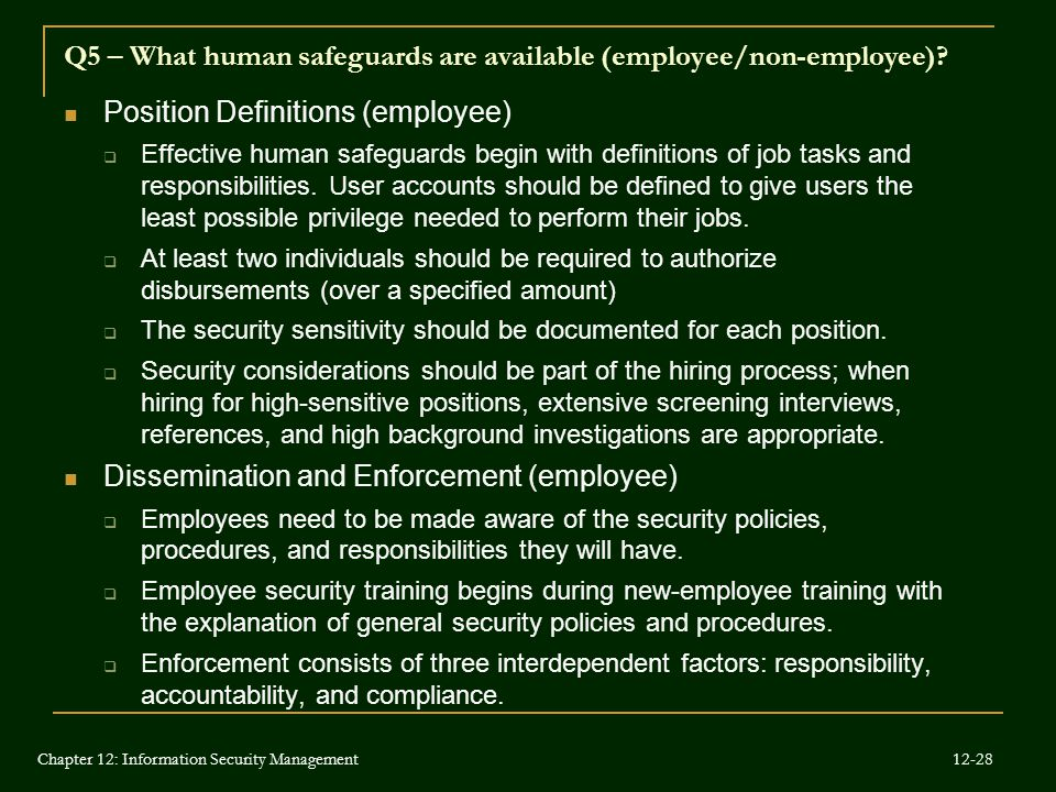 Q5 – What human safeguards are available (employee/non-employee)