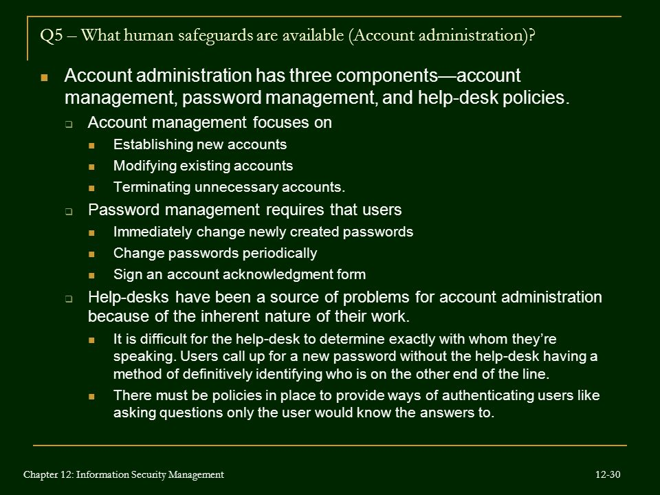Q5 – What human safeguards are available (Account administration)