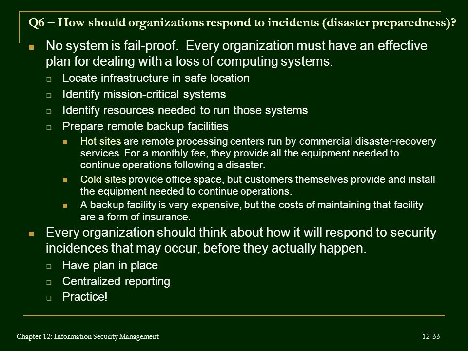 Q6 – How should organizations respond to incidents (disaster preparedness)