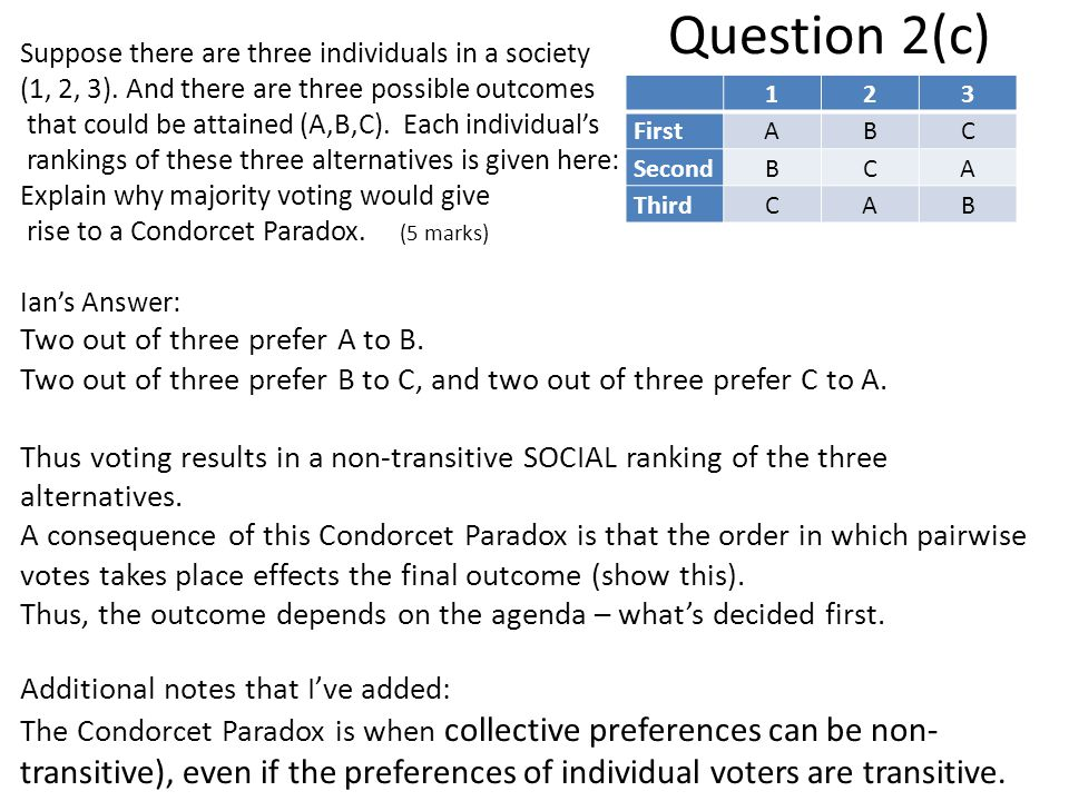 Question 2(c) Two out of three prefer A to B.