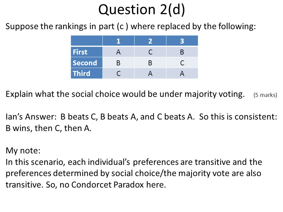 Question 2(d) Suppose the rankings in part (c ) where replaced by the following: