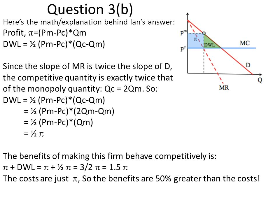 Question 3(b) Profit, =(Pm-Pc)*Qm DWL = ½ (Pm-Pc)*(Qc-Qm)