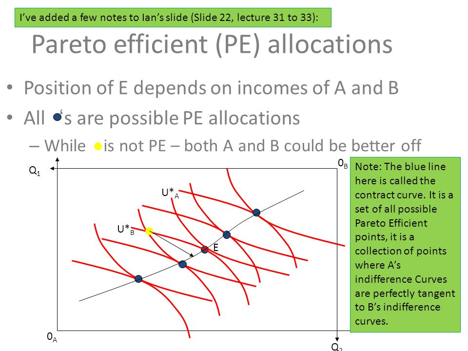 Pareto efficient (PE) allocations