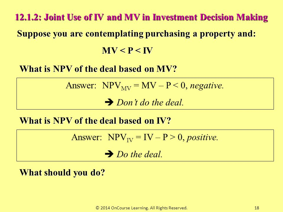 12.1.2: Joint Use of IV and MV in Investment Decision Making
