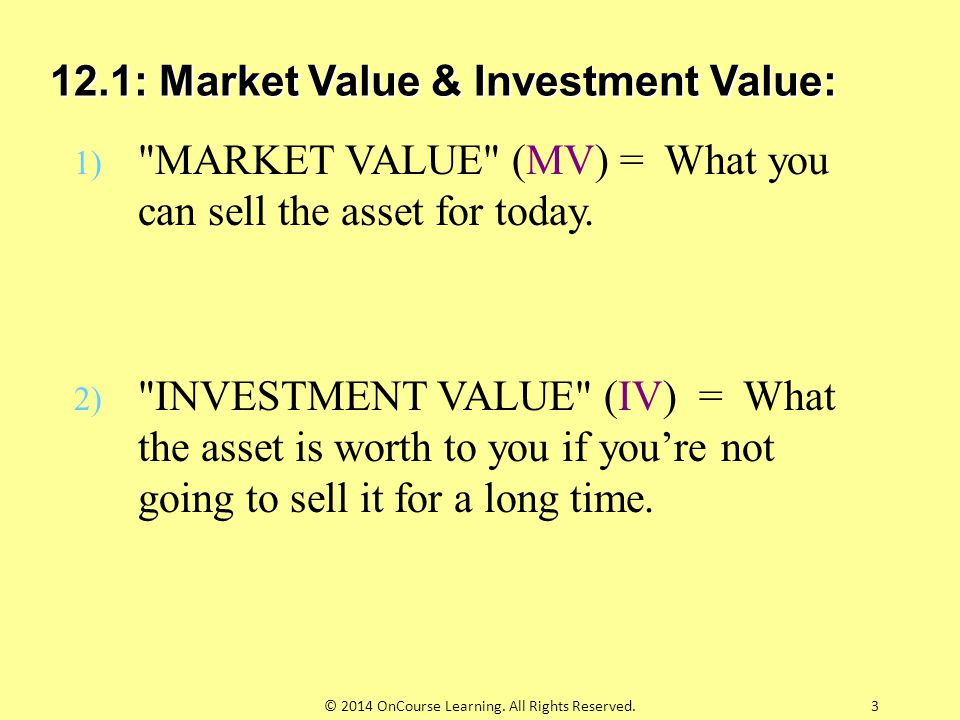 12.1: Market Value & Investment Value: