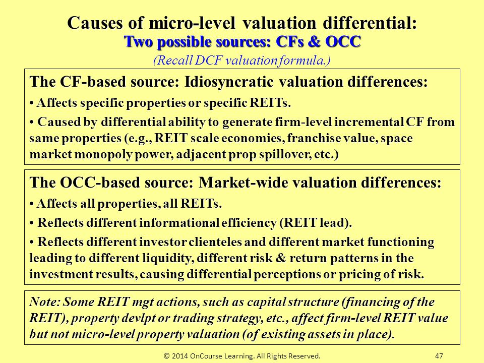 Causes of micro-level valuation differential: