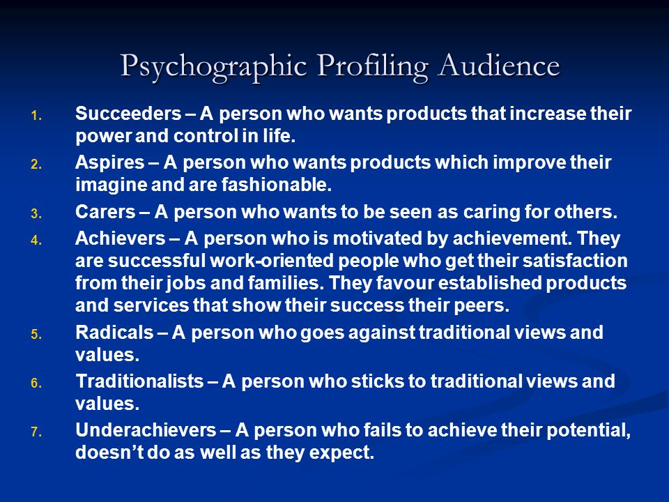 Psychographic Profiling Audience