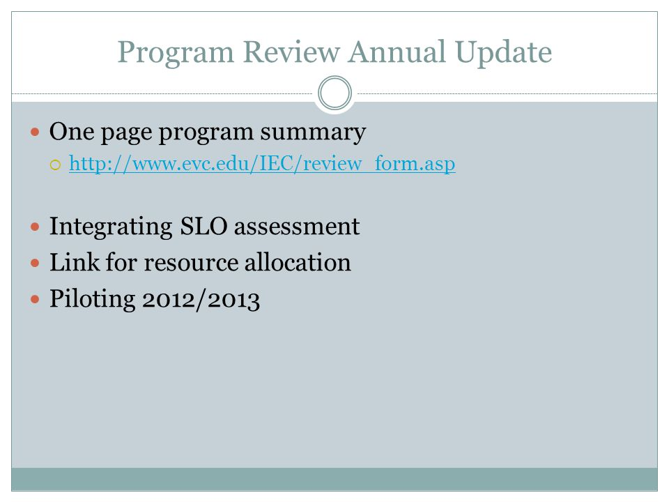 Program Review Annual Update