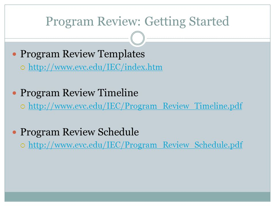Program Review: Getting Started