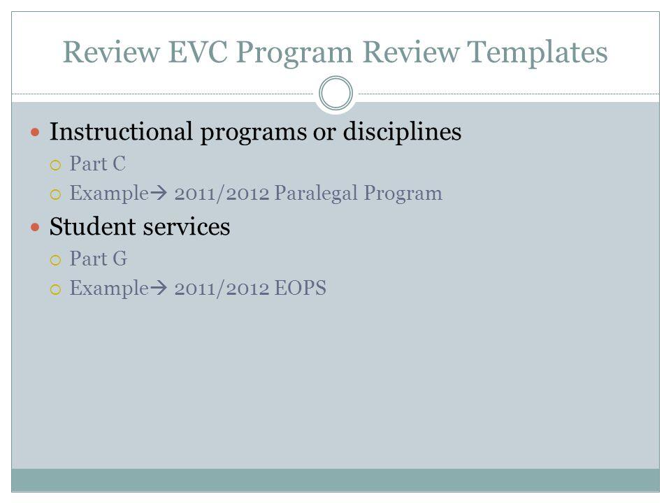 Review EVC Program Review Templates