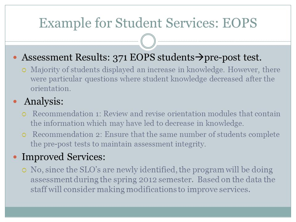 Example for Student Services: EOPS