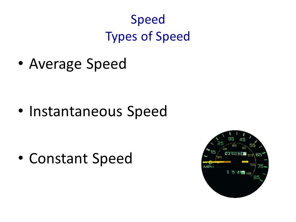 Speed Types of Speed Average Speed Instantaneous Speed Constant Speed