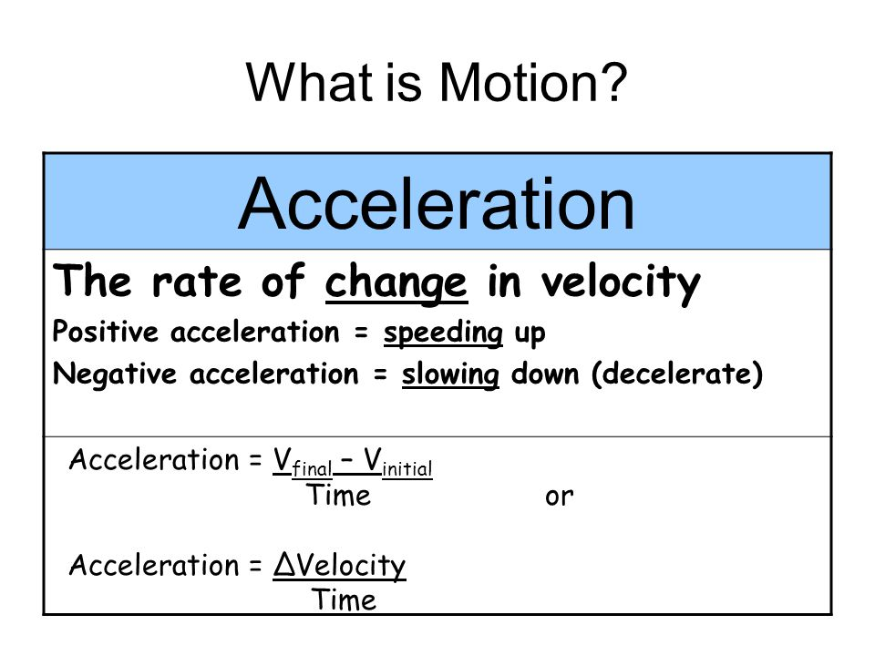 Acceleration What is Motion The rate of change in velocity