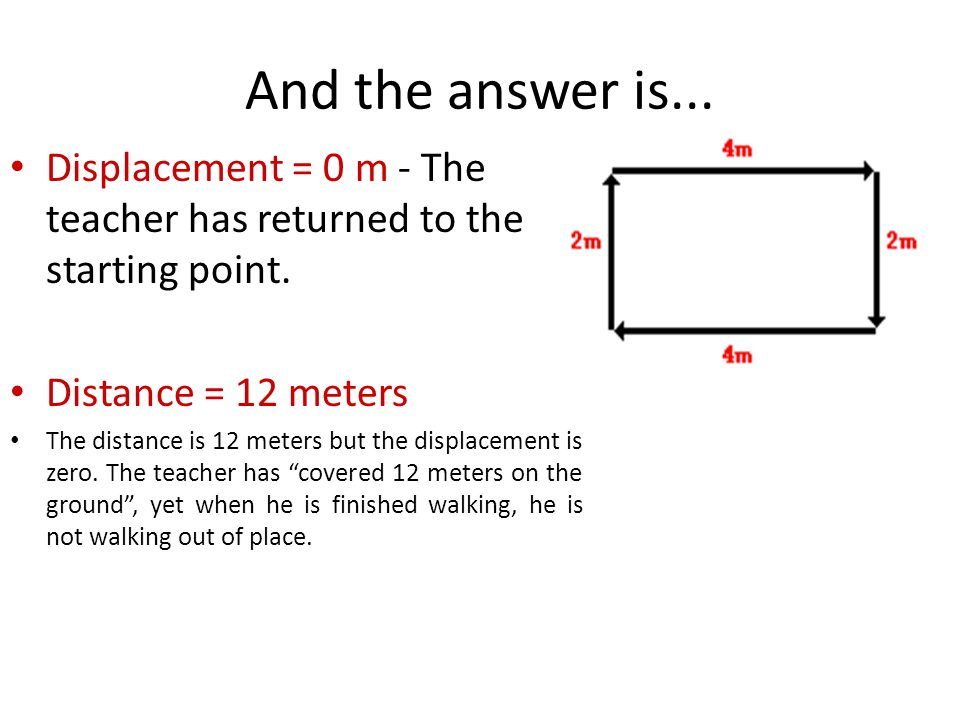 And the answer is... Displacement = 0 m - The teacher has returned to the starting point. Distance = 12 meters.