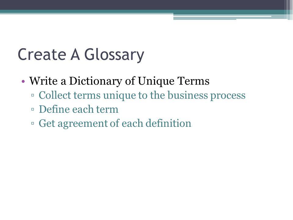 Create A Glossary Write a Dictionary of Unique Terms