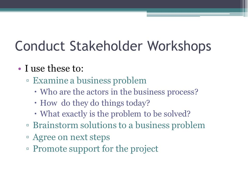 Conduct Stakeholder Workshops