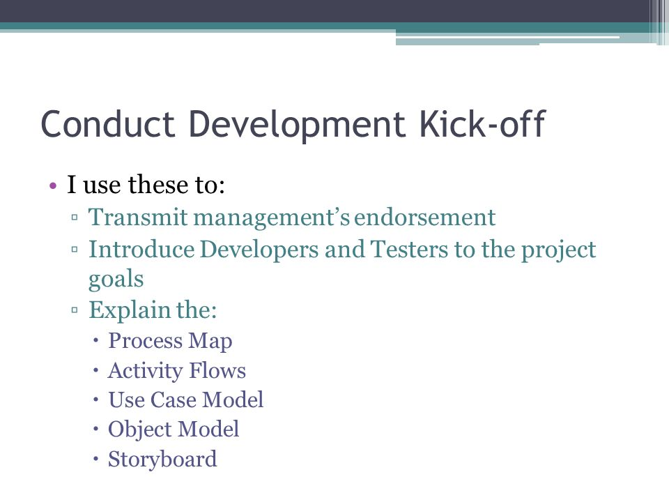 Conduct Development Kick-off