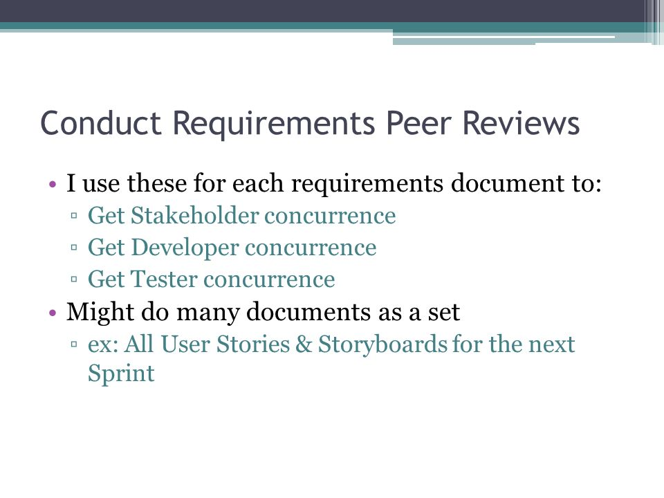 Conduct Requirements Peer Reviews