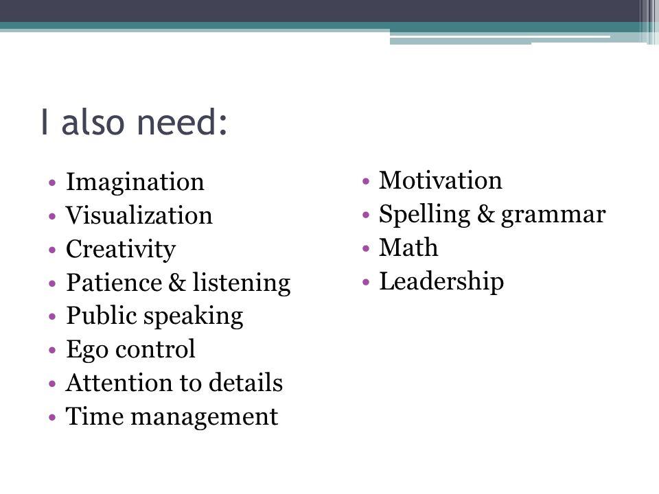 I also need: Imagination Motivation Visualization Spelling & grammar