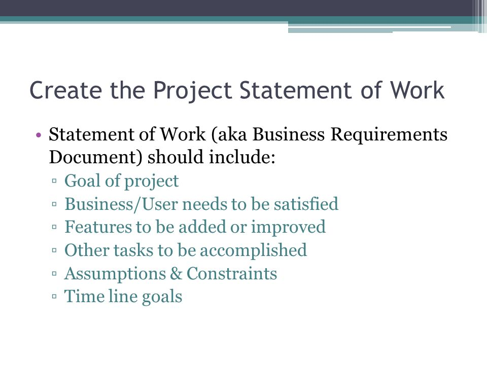 Create the Project Statement of Work