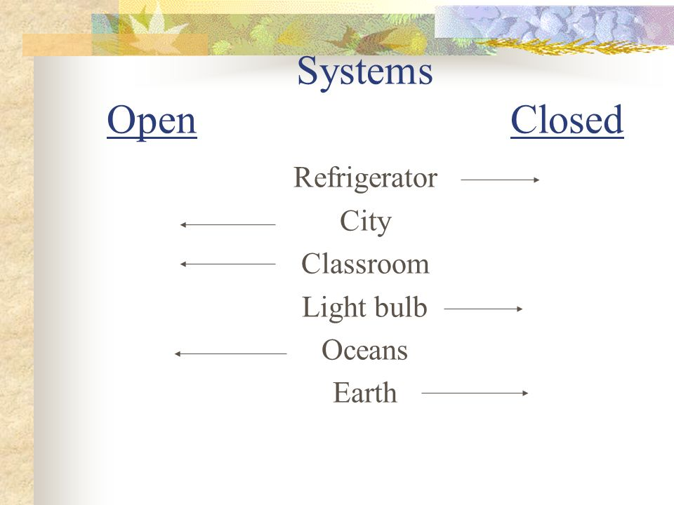 Systems Open Closed Refrigerator City Classroom Light bulb Oceans