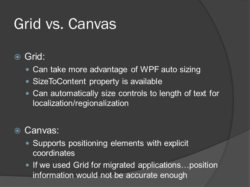 Grid vs. Canvas Grid: Canvas: