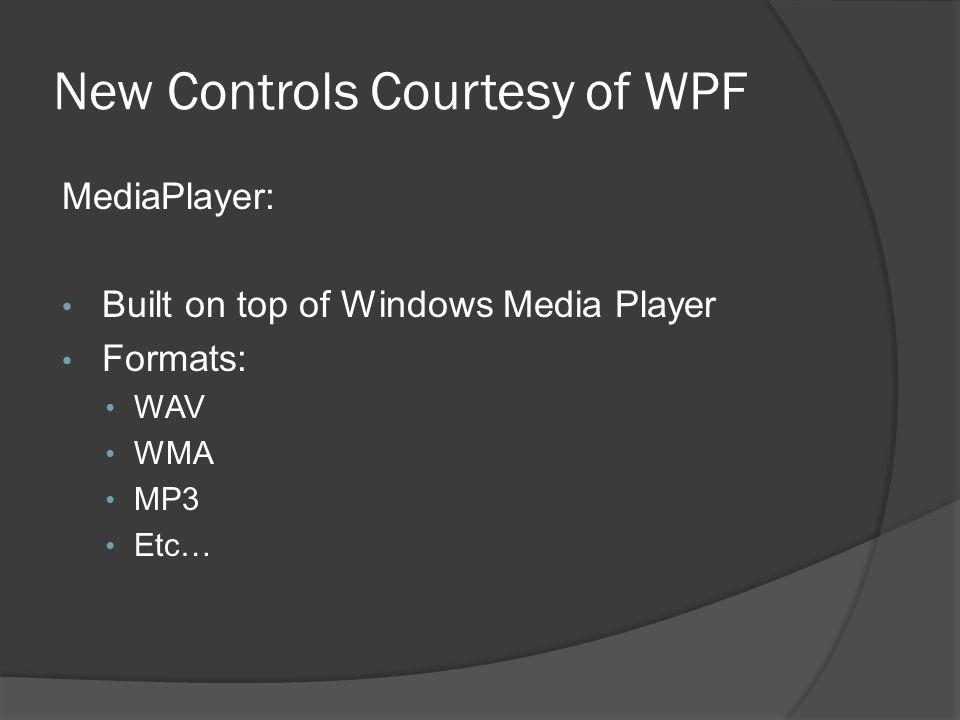 New Controls Courtesy of WPF
