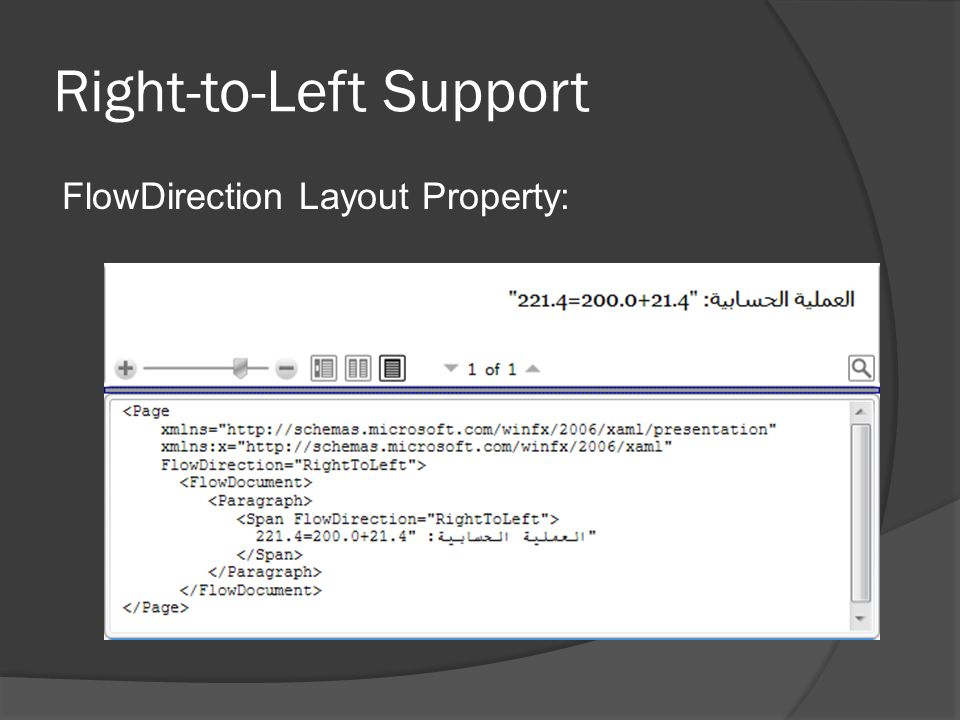 Right-to-Left Support