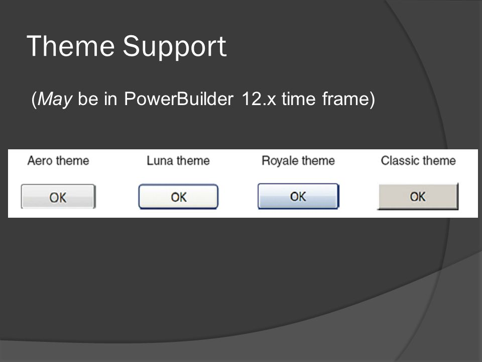 Theme Support (May be in PowerBuilder 12.x time frame)