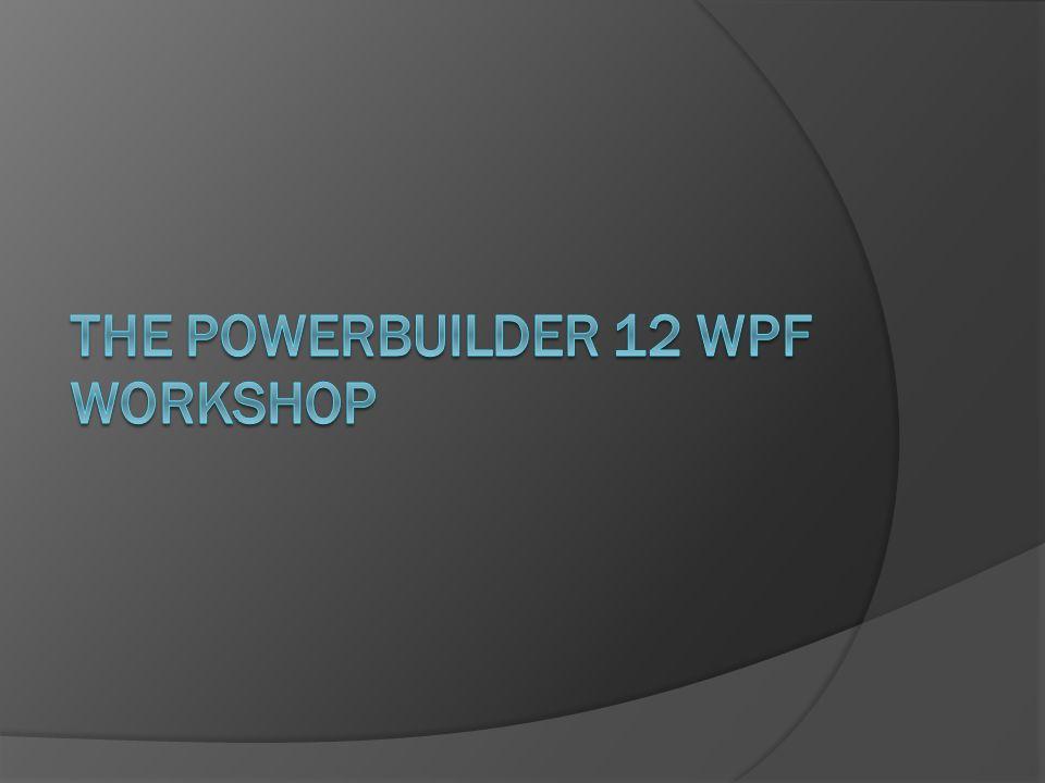 The PowerBuilder 12 WPF Workshop