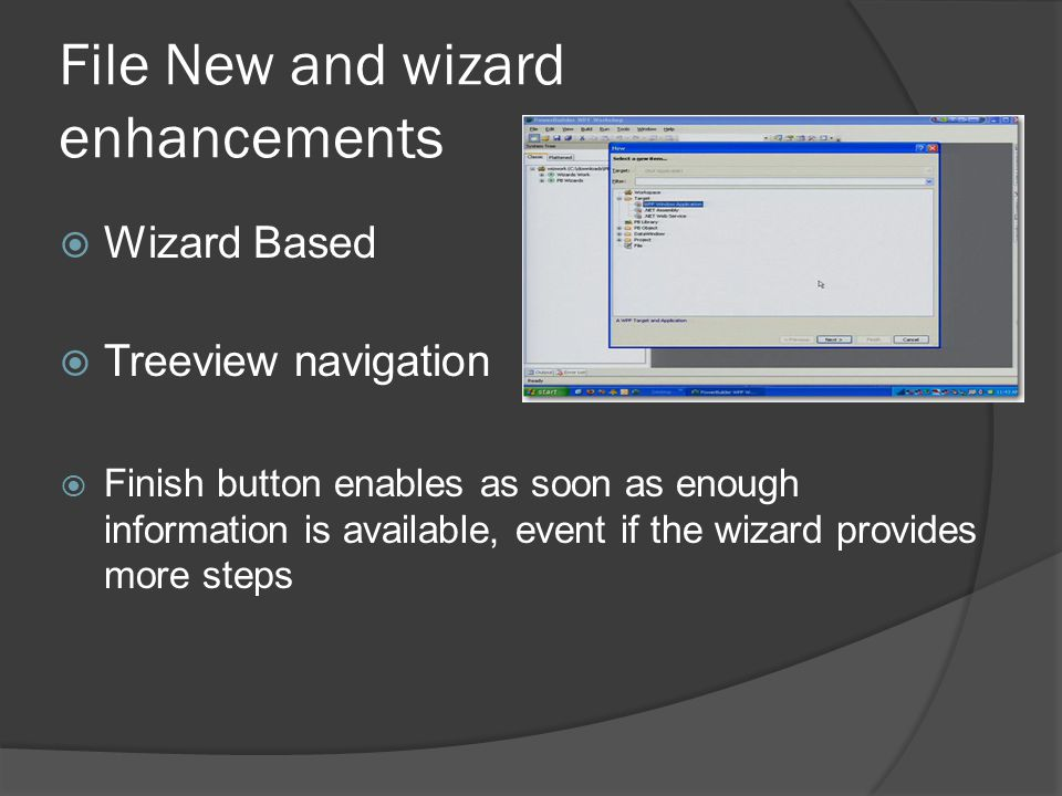 File New and wizard enhancements