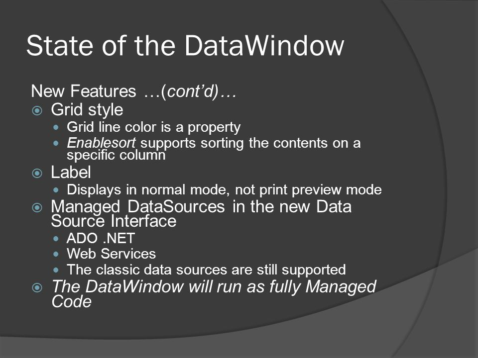 State of the DataWindow