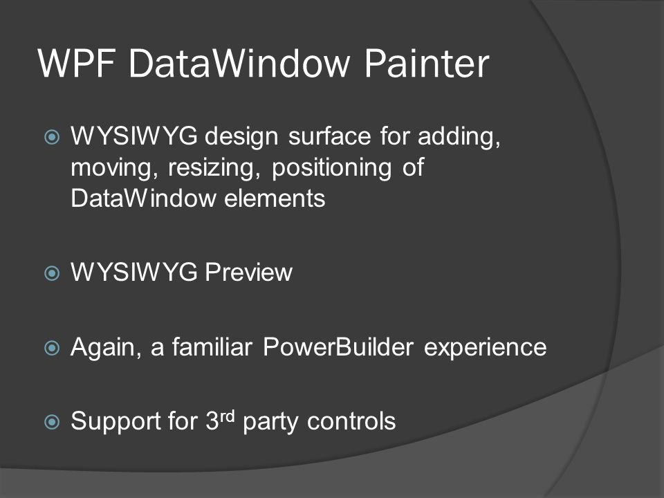 WPF DataWindow Painter
