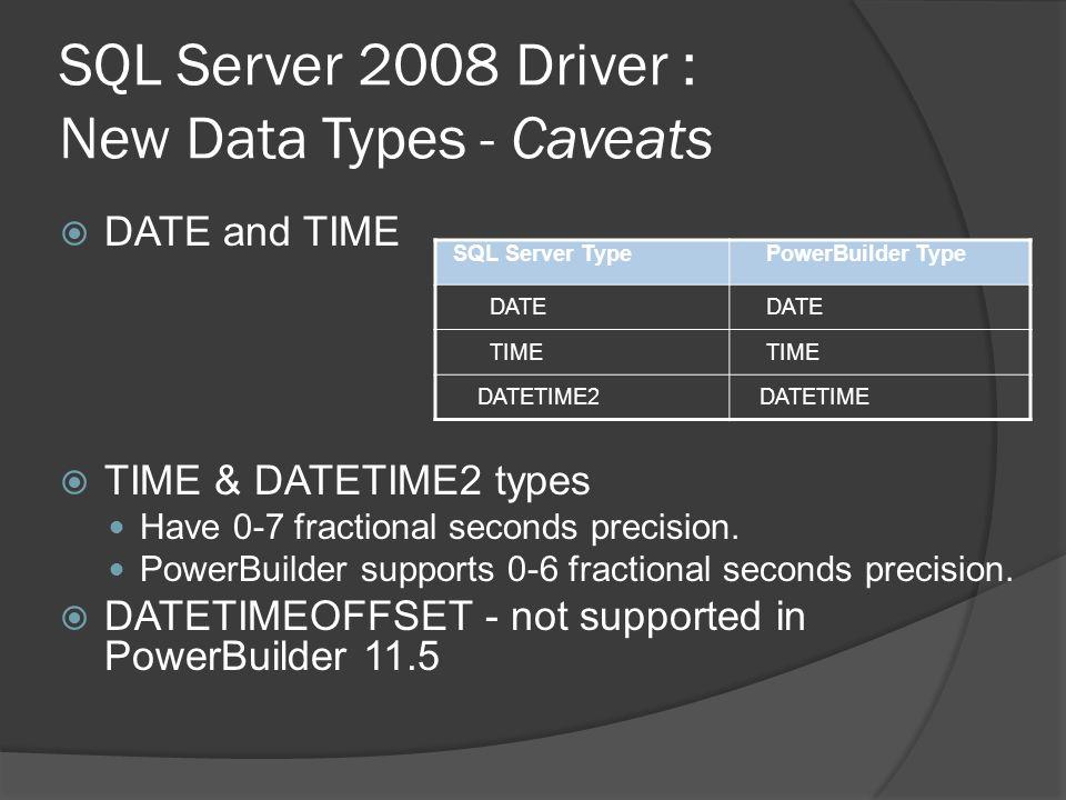 SQL Server 2008 Driver : New Data Types - Caveats