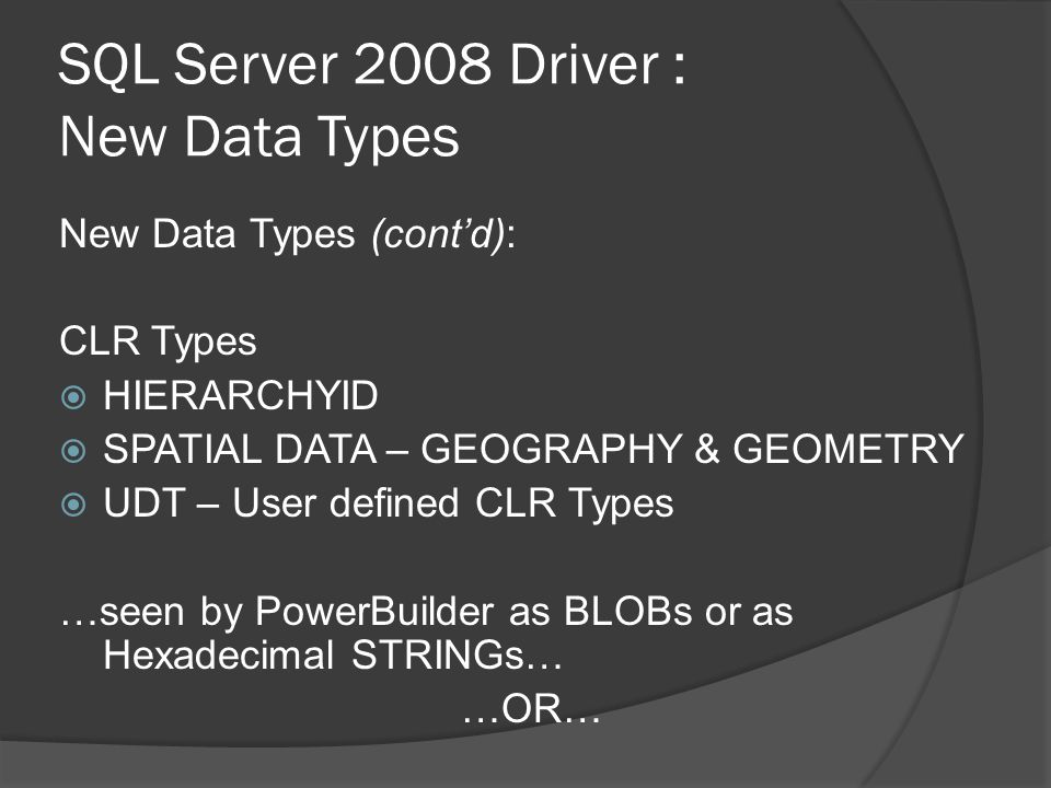 SQL Server 2008 Driver : New Data Types