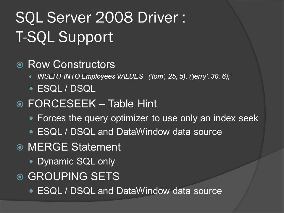 SQL Server 2008 Driver : T-SQL Support