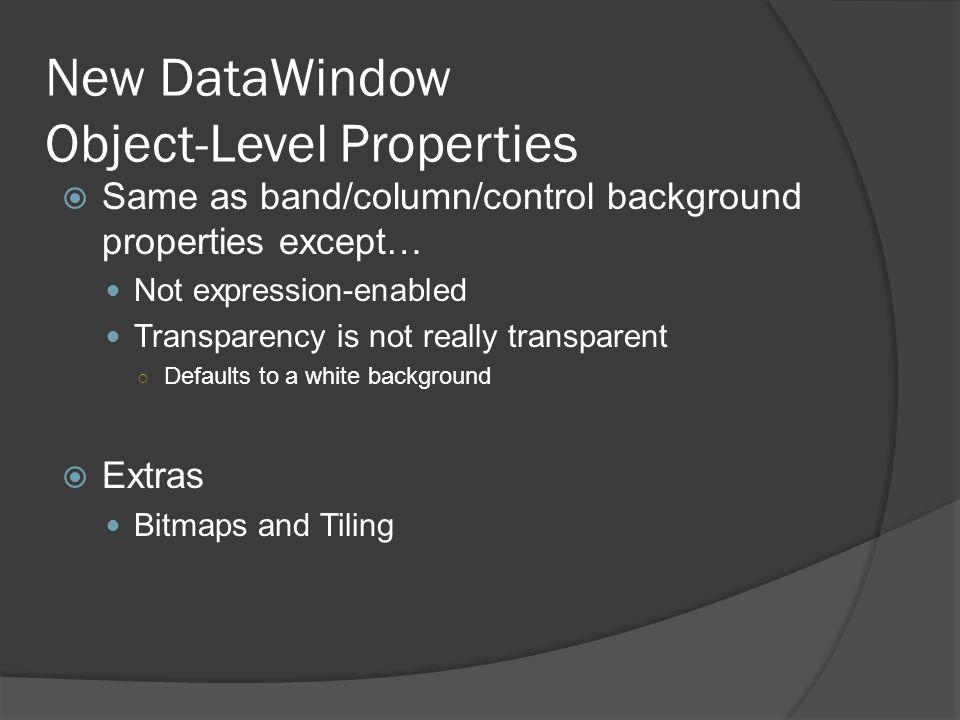 New DataWindow Object-Level Properties