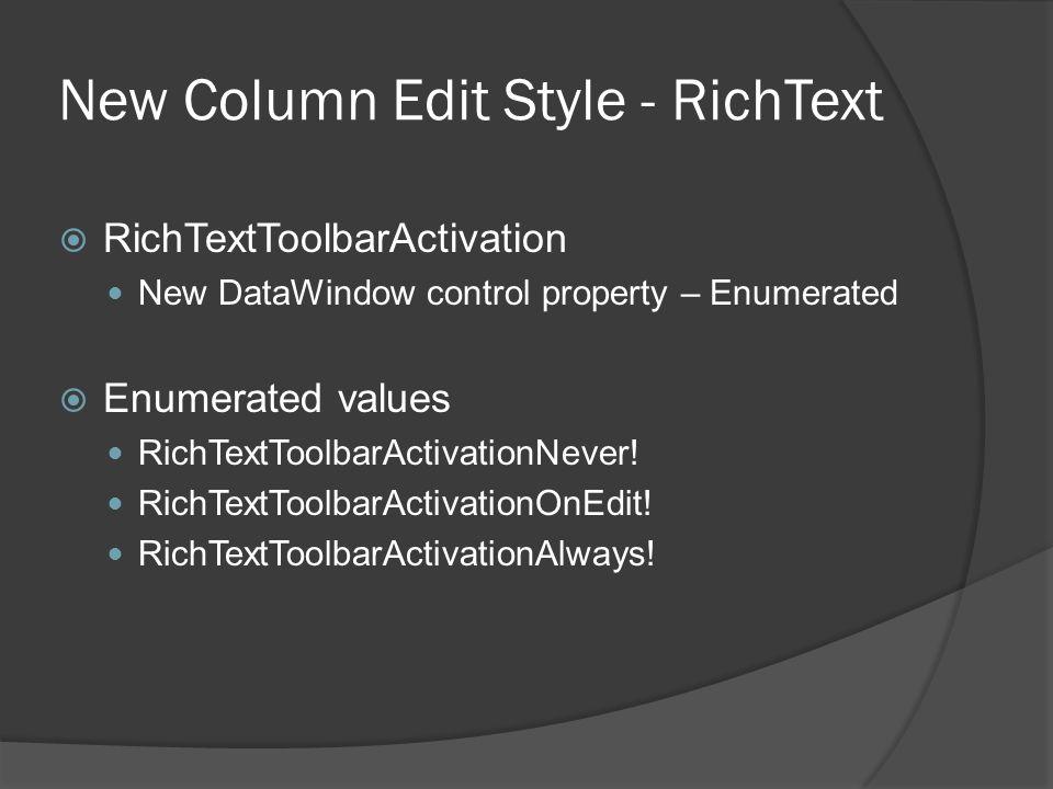 New Column Edit Style - RichText
