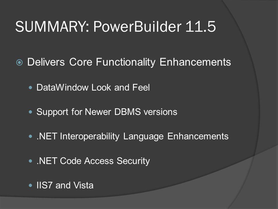 SUMMARY: PowerBuilder 11.5