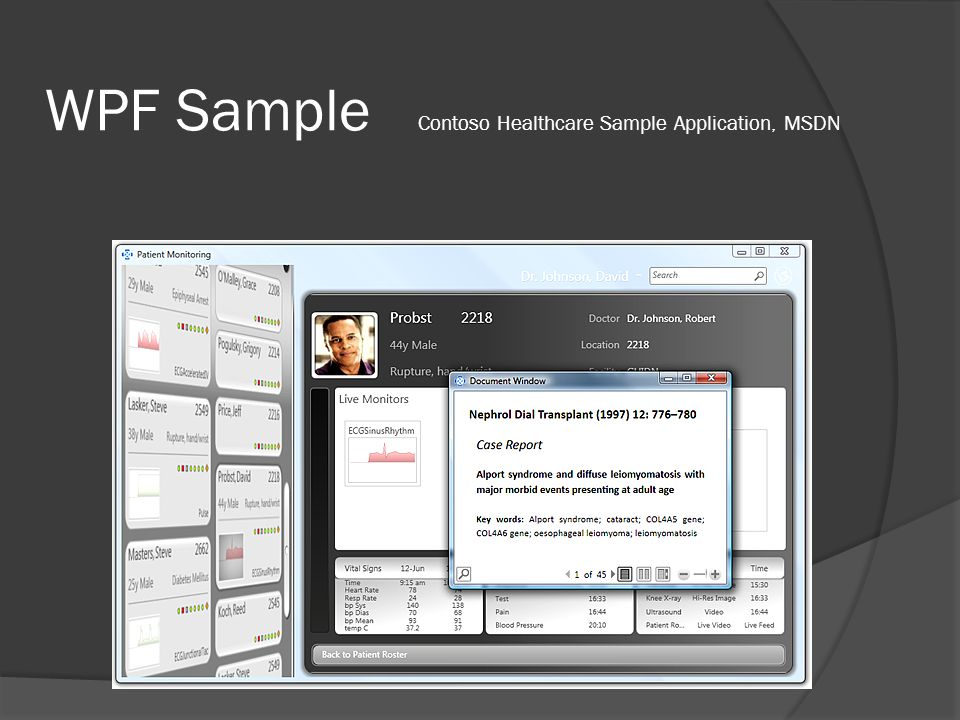WPF Sample Contoso Healthcare Sample Application, MSDN