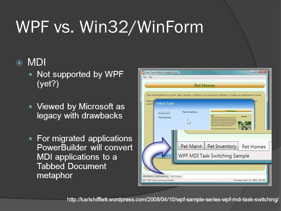 WPF vs. Win32/WinForm MDI Not supported by WPF (yet )