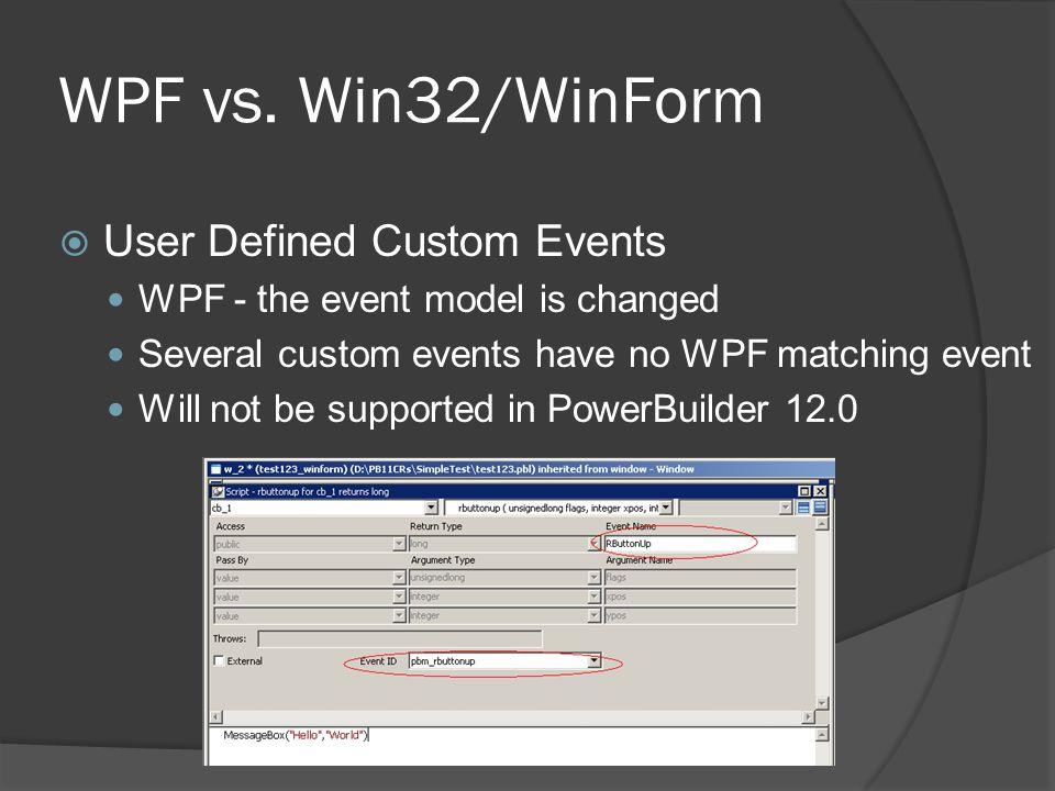 WPF vs. Win32/WinForm User Defined Custom Events