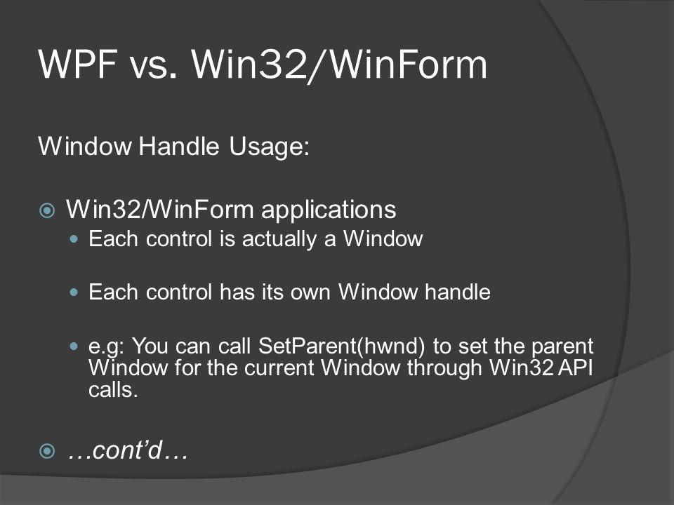 WPF vs. Win32/WinForm Window Handle Usage: Win32/WinForm applications