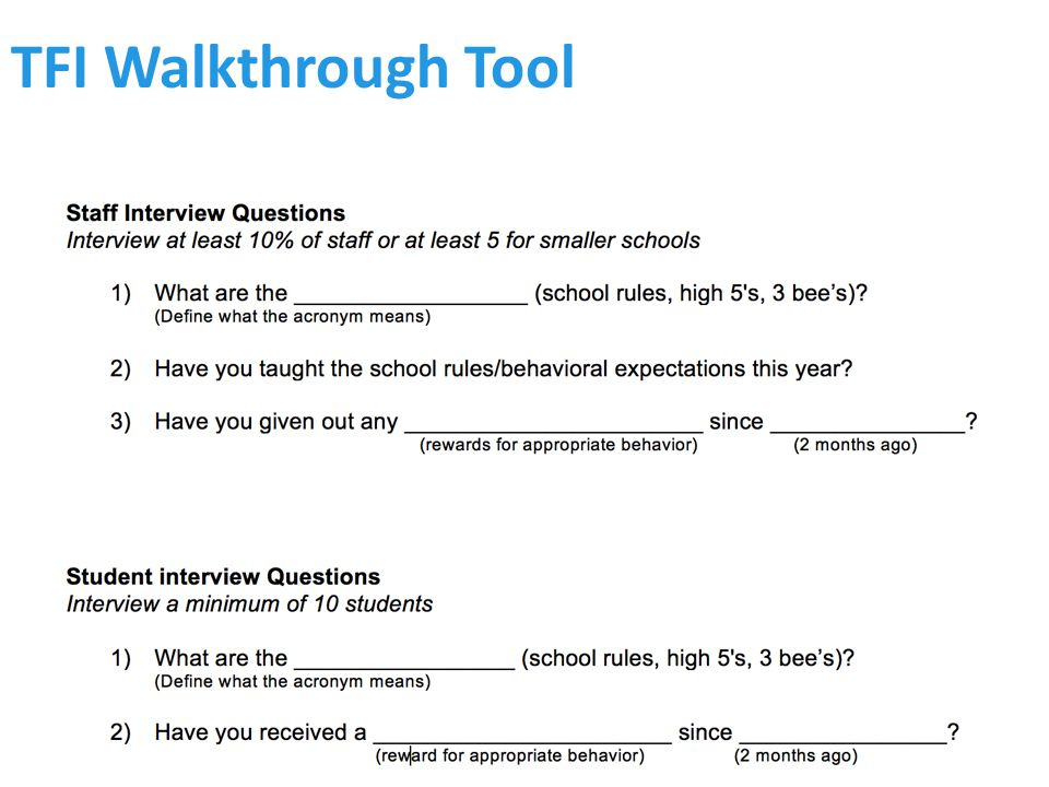 TFI Walkthrough Tool