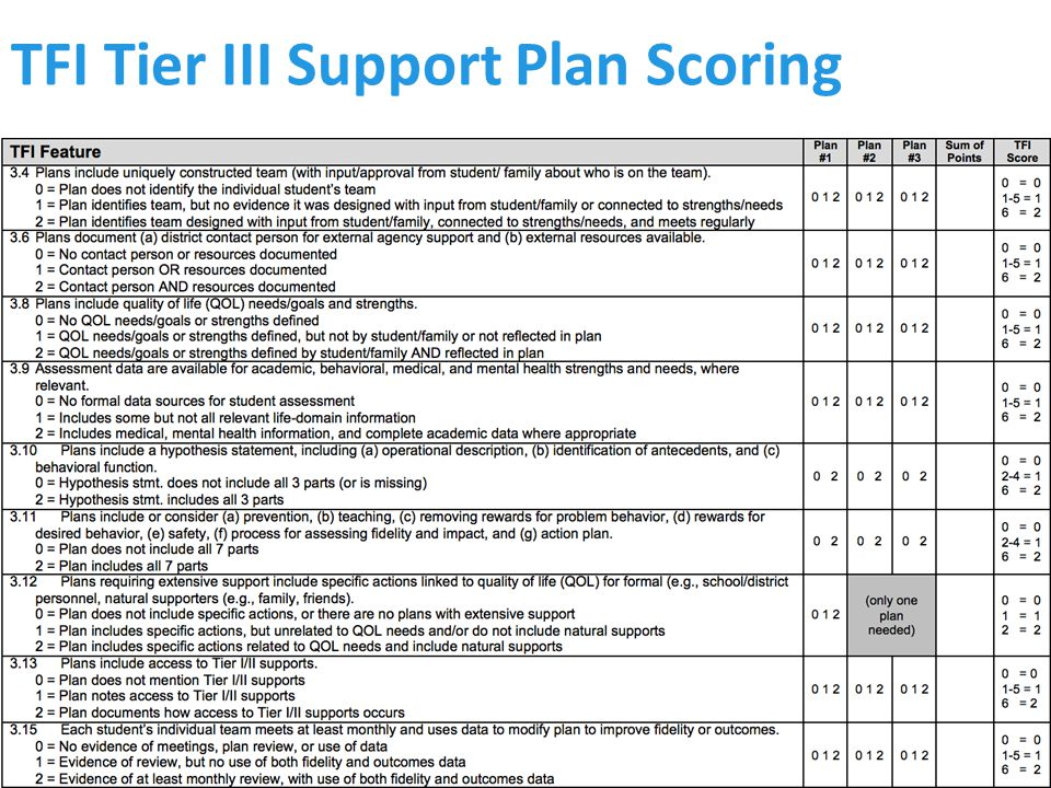 TFI Tier III Support Plan Scoring