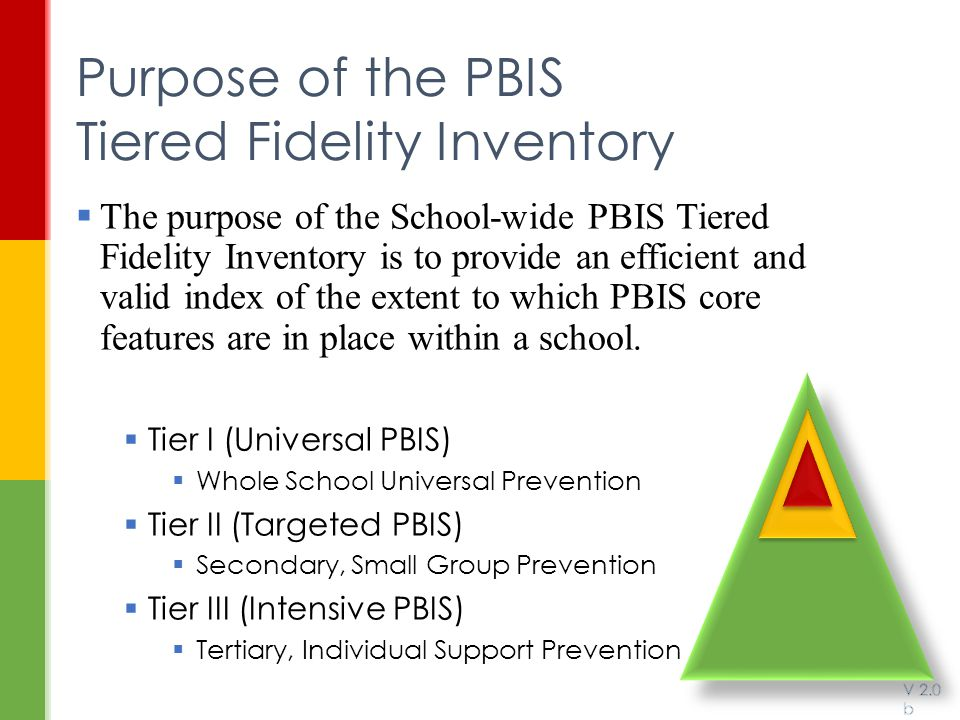 Purpose of the PBIS Tiered Fidelity Inventory